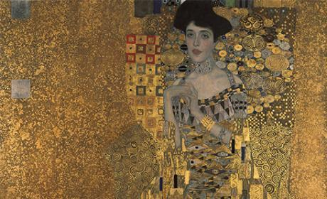 Art Nouveau Original Artwork Based on Klimt Painting About 12x16 inches Mixed Media Mosaic Wall Art Wall Hanging Woman in Gold