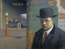 "Georg Scholz, ""Self-Portrait in front of an Advertising Column,"" 1926"